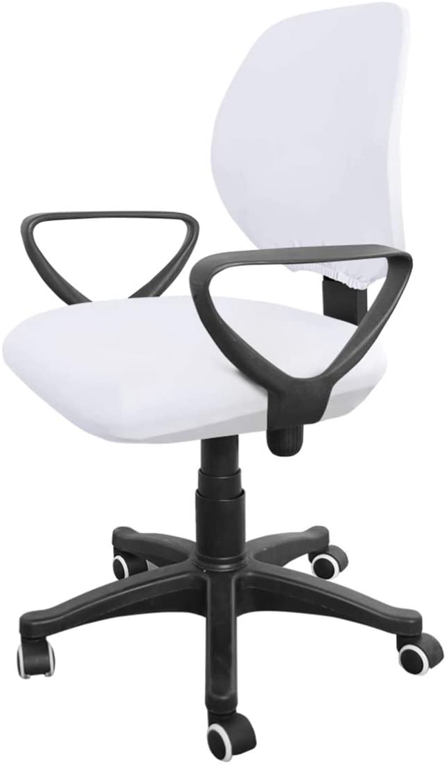 VOSAREA White Office Chair Covers Stretchable Universal Computer Office Chair Slipcover, Washable Computer Rotating Chair Seat Covers Furniture Protector