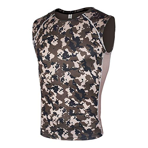 - Xtextile Men's Compression Camouflage Undershirt Cool Dry Baselayer Muscle Tank Workout Sleeveless (Army Green Camo, X-Large)