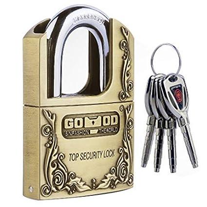 ZIGLY Vintage Counterfeiting Hard Steel Keyed Padlocks Locks 4 Keys