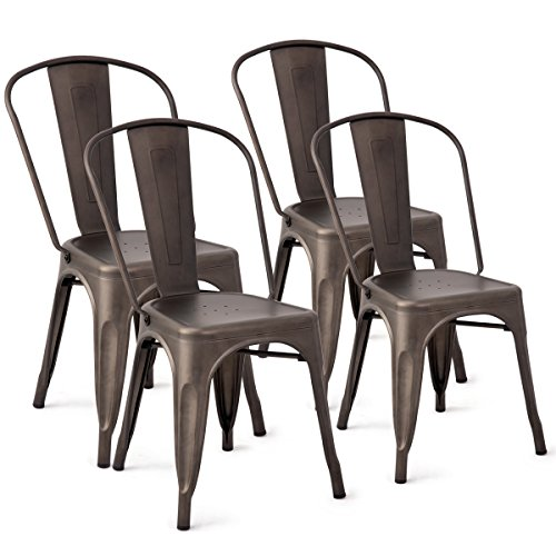 Costway Tolix Style Dining Chairs Metal Industrial Vintage Chic High Back Indoor Outdoor Dining Bistro Café Kitchen Side Stackable Chair Set of 4 (Copper) (Style Chairs Dining High Back)