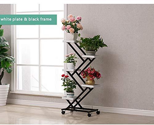 - Khkfg European Flower Rack Wrought Iron Racks Home Multi-Layer Indoor Living Room Balcony Green Radish Wheel Potted Rack Floor-Standing (Color : White Plate Black Frame)