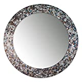 DecorShore 24″ Decorative Mosaic Glass Wall Mirror – Silver (Silver) For Sale