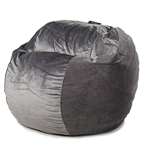 POSH - Steel Grey Velvet - Medium Bean Bag Chair