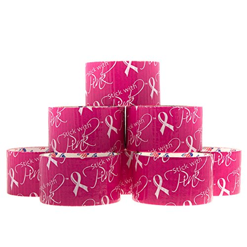 8 Rolls Breast Cancer Awareness Duct Tape Stick With Pink Arts Crafts DIY Duck Bulk Rolls Decorative Hobby Fashion Décor (Logo Tape)