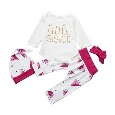 9715bd6851a1d Longra 4PCS T-shirts Bébé Fille Lettre Imprimé Romper Bodys Combinaisons  Col rond Manches longues