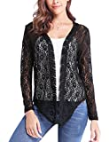Abollria Women Long Sleeve Floral Lace Shrug Open Front Bolero Cardigan