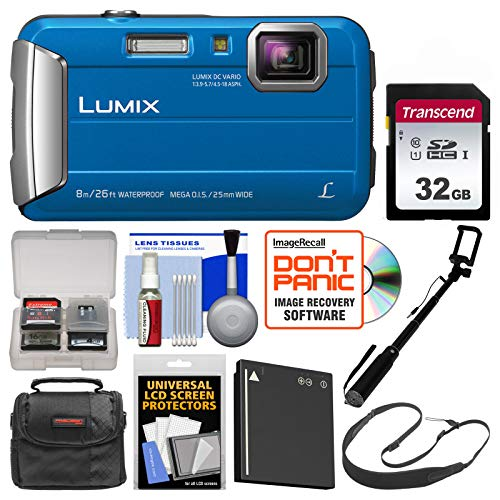 Panasonic Lumix DMC-TS30 Tough Shock & Waterproof Digital Camera (Blue) with 32GB Card + Case + Battery + Selfie Stick Monopod + Sling Strap Kit