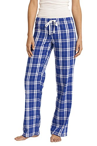 District Women's Flannel Plaid Pant S Deep Royal