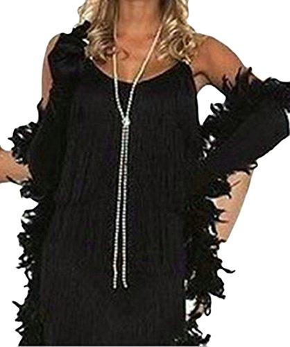 Cromoncent A Dress Womens Chic Black Tassel Solid Slim Strap line Spaghetti BBzrq0