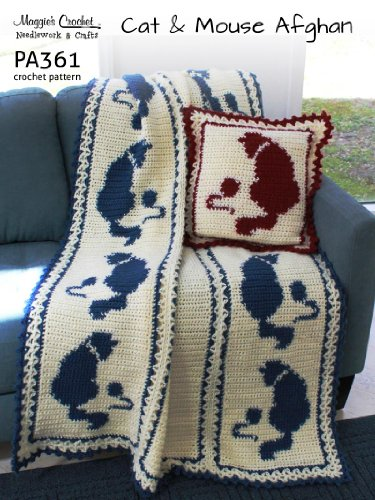 (Crochet Pattern Cat and Mouse Afghan and Pillow PA361-R)