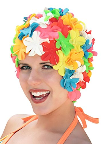 Sync Swimwear Retro Flower Swim Caps for Women: Petal Bathing Caps Multi Brights