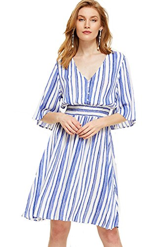 Milumia Women's Boho Button Up Split Floral Print Flowy Party Dress Medium Blue