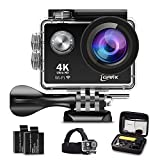 iGANK Action Camera 4K Wifi Waterproof Sports Camera Full HD 16M SONY Sensor 2 Rechargeable Batteries/Floating Hand Grip/Head Strap/Carrying Case and Mounting Accessories (Black)