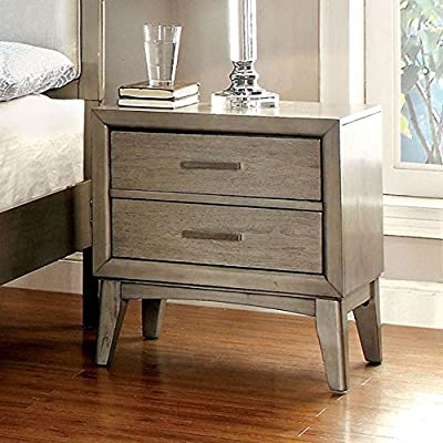 Benzara BM123208 Synder II Contemporary Nightstand, Gray - Includes one Nightstand only. This Nightstand includes two drawers with chrome bar pull handles A great piece to uplift your Bedroom - bedroom-furniture, nightstands, bedroom - 51raTJorTuL. SS400  -