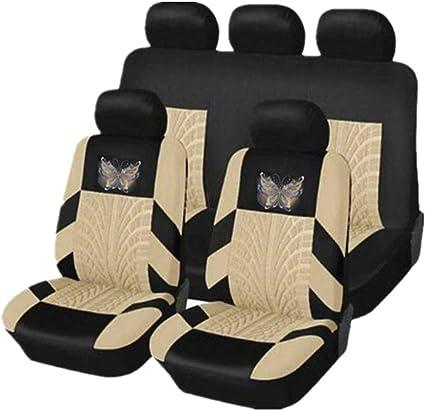 Kkmoon Auto Sitzbezüge Vordersitze Und Rücksitz Autositzbezüge Schonbezüge Set Universal Für Alle Autos 11stücke Beige Auto