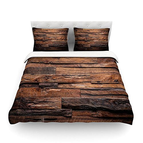 KESS InHouse Susan Sanders ''Espresso Dreams'' Rustic Wood Twin Cotton Duvet Cover, 68 by 88-Inch