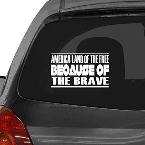 (Custom Brother - AMERICA LAND OF THE FREE BECAUSE OF THE BRAVE Car Laptop Wall)