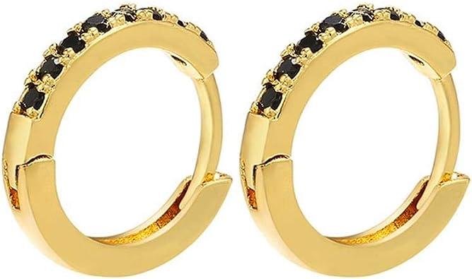 Gold Round Circle Ear Stud Crystal Hoop Earrings Dangle Jewelry Drop Earrings