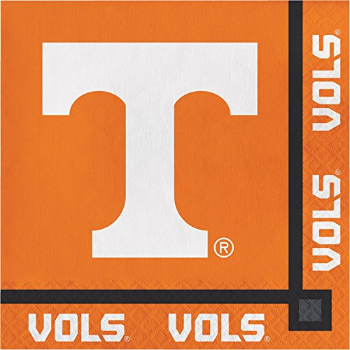 Pack of 240 Orange and White Tennessee Disposable Party Beverage Napkins 5'' by Party Central