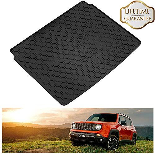 (KIWI MASTER Rear Cargo Liners Compatible for 2015-2019 Jeep Renegade Slush Cargo Mat Liners Trunk Black Mat)