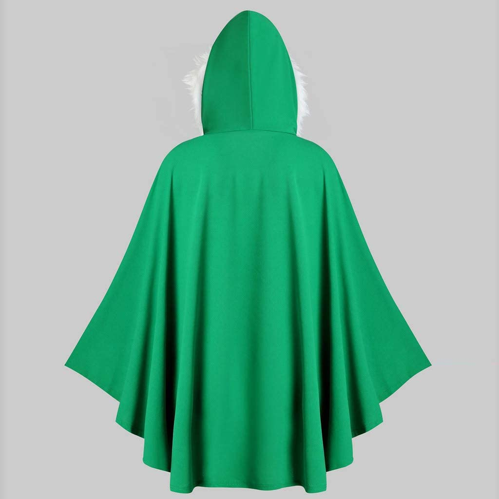 SGYH Couple Models Mens Womens Faux Fur Hooded Christmas Cloak Coat Plus Size Pullover Tops