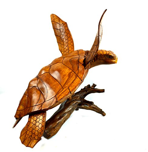 Beautiful HUGE Hand Carved Teak Wood Turtle Ocean Coral Statue ()