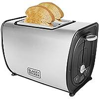Black + Decker BXTO0203IN 870-Watt 2 Slice Stainless Steel Pop-up Toaster(Grey)
