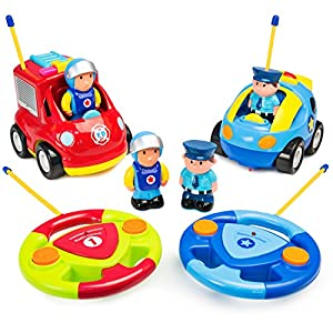 Best Choice Products 2-Pack Kids Cartoon Remote Control RC Firetruck and Police Car w/2 Action Figures - Multicolor
