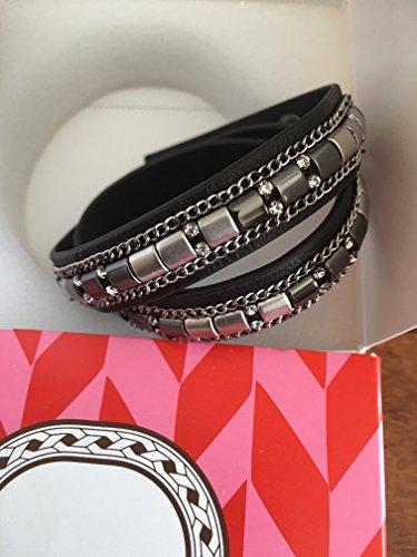 STELLA & DOT CADY WRAP wrapleather rhinestone bracelet SILVER HEMITITE #B290sml (Avalon Bracelets Gold)