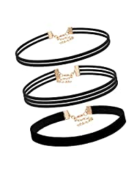 Flongo Womens Punk Rock 3PCS Leather Gothic Rope Choker Collar Necklace, 12.2 inch Length