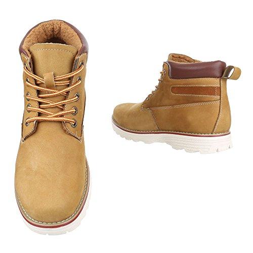 Ital-Design Stiefeletten Herren Leder Schuhe Desert Boots Leicht Gefüttert Schnürsenkel Boots Camel