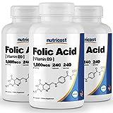 Nutricost Folic Acid (Vitamin B9) 1000 mcg, 240 Capsules (3 Bottles)