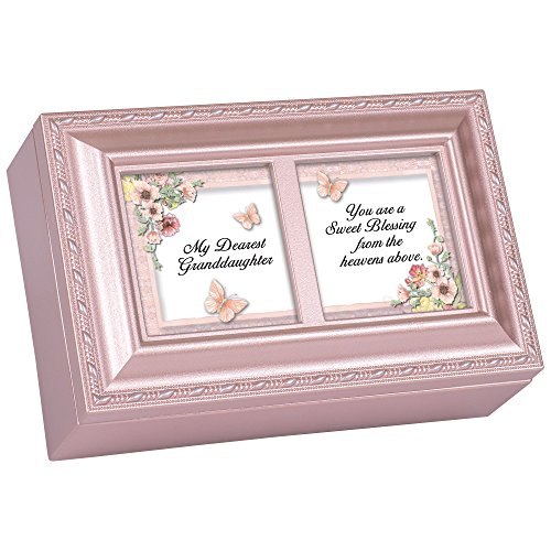 Cottage Garden Dearest Granddaughter Sweet Blessing Matte Pink Jewelry Music Box Plays You Light Up My Life