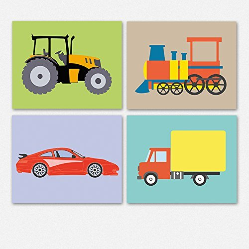 Nursery Transportation Set Tractor Truck Train and Race Car kids room art decor (12.5