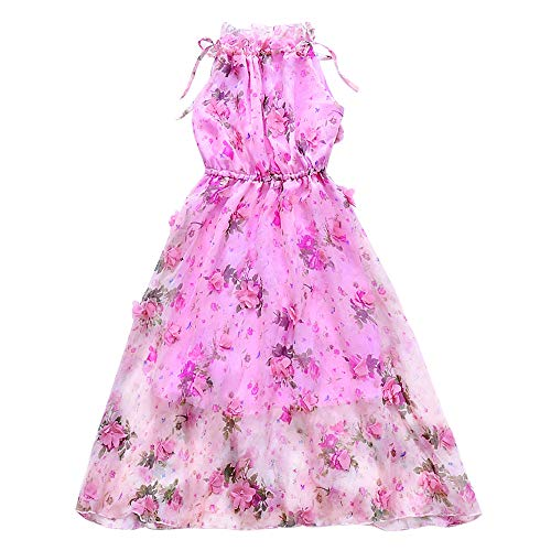 childdkivy Girls Summer Dress Toddler Girls Bohemian Dresses Princess Costume (16, Pink) -
