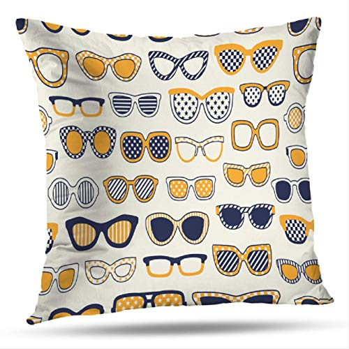 Optical Dots Wallpaper - KJONG Navy-Blue Square Decorative Pillow Case 18 x 18 inch Pillow Cover for Bedroom Living Room Blue Fun Navy Specs Dots Optical Wallpaper Color Colorful (Two Sides Print)