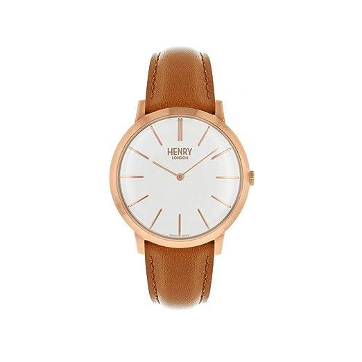 Reloj Henry London Iconic hl40-s-0240 al cuarzo (batería) acero quandrante blanco correa piel: Amazon.es: Relojes