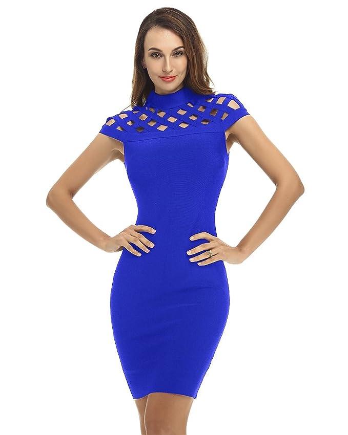 3e75307c4438 Amazon.com: Whoinshop Women's High Neck Lattice Bodycon Midi Bandage Dress:  Clothing