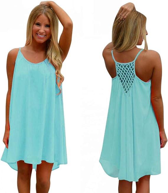 Damen Sommerkleid, Elegant Falten Einfarbig Minikleid
