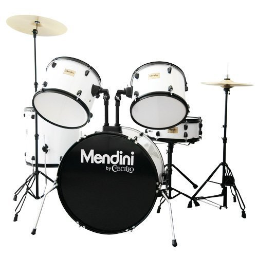 Mendini by Cecilio Complete Full Size 5-Piece Adult Drum Set with Cymbals, Pedal, Throne, and Drumsticks, Gloss White, MDS80-WH ()