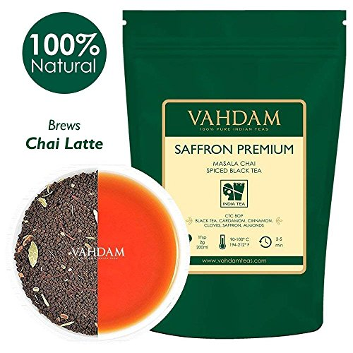 VAHDAM, Saffron Tea Loose Leaf (50 Cups)   100% NATURAL SPICES   Black Tea, Cardamom, Cinnamon, Clove, Almond, Saffron   Spiced Chai Tea Loose Leaf   Brew Hot Tea, Iced Tea or Chai Latte   3.53oz - Saffron Tea