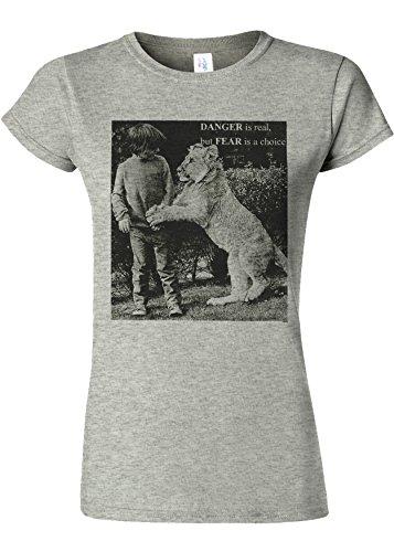 先駆者シガレット役職Danger is Real Fear is Choice Lion Kid Novelty Sports Grey Women T Shirt Top-S