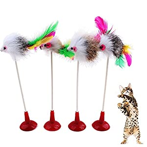 70%OFF Giveme5 4pcs Funny Pet Feather False Mouse Bottom Sucker Cat Kitten Playing Scratch Toy (Color Random)