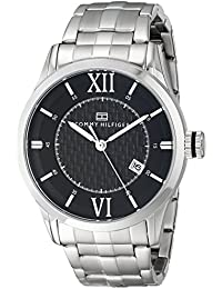 Mens 1710210 Classic Silver-Tone Black Dial Watch
