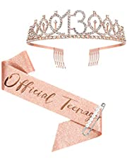 13th Birthday Sash and Crown for Girls, Rose Gold Official Teenager Sash and Tiara for Girls, 13th Birthday Gifts for Happy 13th Birthday Party Favor Supplies