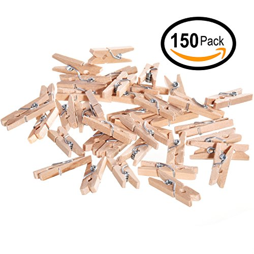Hand Painted Peg - Ram-Pro Mini Natural Wood Clothespins - 150 Pieces Mini Clothespins Wooden Clips Pegs for Crafts and Home Decoration, Wooden Pins for Scrap Booking Mini Wooden Clothespins
