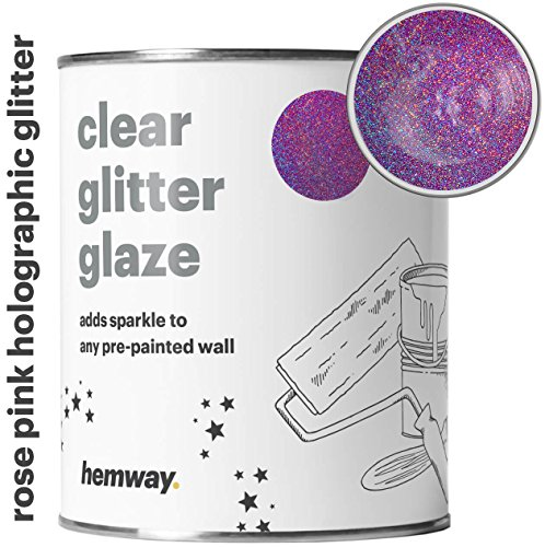 Hemway 1L Clear Glitter Paint Glaze for Pre-Painted Walls Acrylic, Latex, Emulsion, Ceiling, Wood, Varnish, Dead flat, Matte, Soft Sheen or Silk (34 Variations) (Rose Pink Holographic)