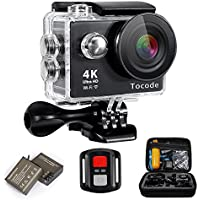 Tocode H9R 4K Sports Action Camera, Full HD Wifi Waterproof DV Camcorde with 4K25/ 1080P60/ 720P120fps Video, 12MP 170 Degree Wide Angle 2 inch LCD Screen/2.4G Remote Control