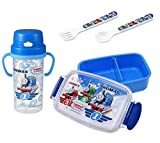 4 Thomas the Tank Engine Products - Lunch (Bento) Box, Thermos with Handles, Spoon and Fork (Japan Import)