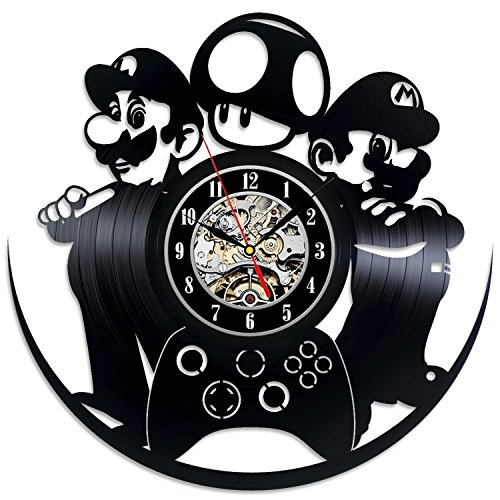 Amiibo Mario Kart 8 Costumes (Super Mario Vinyl Record Wall Clock - Contemporary Video Game Fan Art - Get unique home wall decor - Gift Ideas for youth and teens)